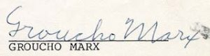 El análisis grafológico de Groucho Marx vacila.