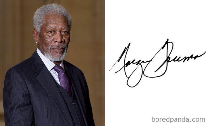 El análisis grafológico de Morgan Freeman es juguetón.